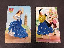 Lot 2 cartes postales anciennes fantaisie brodées danseuse espagnole Andalucia