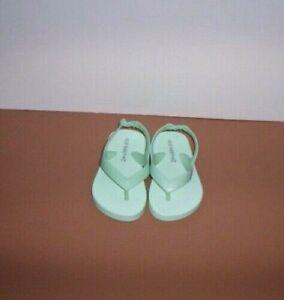 Old Navy Teal Aqua Toddler Baby Girl Size 5 Flip Flops Sandals Shoes New!