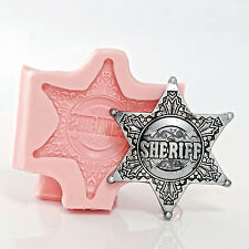 Sheriff Badge Silicone Mold, fondant, chocolate, resin, polymer clay mold (971)