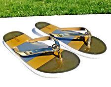 5771545c008ba5 MICHAEL Michael Kors Flip Flops Thong Sandals Sz 10 Gold   Silver wGold  Logo NEW