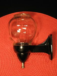 VINTAGE GLASS SOAP DISPENSER WITH ORIGINAL BLACK BAKELITE WALL MOUNT - WORKS !