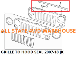 Hood to Grille Weatherstrip Seal Fits Jeep JK Wrangler 2007-2018, # 55397279AB