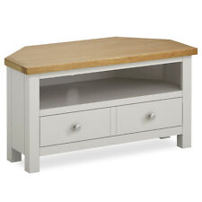 Farrow Grey Corner TV Stand / Painted TV Unit with Drawer / Solid Wood / Oak