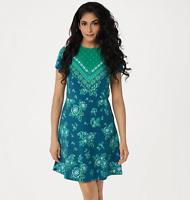 Isaac Mizrahi Live! Knit Engineered Border Floral Print Dress - Green - Medium