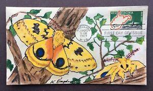 West Virginia #1232 FDC, Kate Hayden cachet art, Io Moth