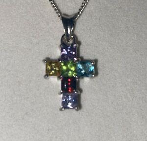 "Beautiful Sterling Silver Multi Color Square CZ Stone Cross Necklace 18"" #23296"