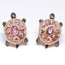 Pink Saphire Schildkröte 925 Sterlingsilber in Rosegold Damen Ohrringe Edelstein