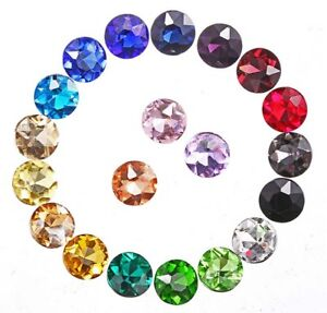 100PCS Mixed Colors Pointed Facted Round Fancy Glass Stones #95618