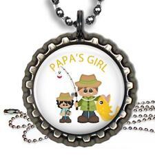 Papa's Girl Fishing Bottle Cap Necklace & Chain Handmade Family Love Gift
