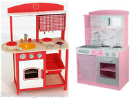 Large Girls Kids Pink / Red Wooden Play Kitchen Children's Play Pretend Set Toy