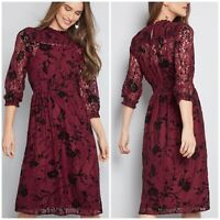 ModCloth Beaming Benefactor Lace Dress NWT Size M Burgundy Floral