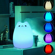 Cute Silicone Cat LED Night Light Creative Cartoon Lamp Color Changing Light