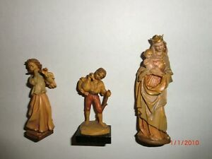 ANRI Krippenfiguren Engel Junge m Gans  Maria mit Kind Coloriert Geschnitzt Holz