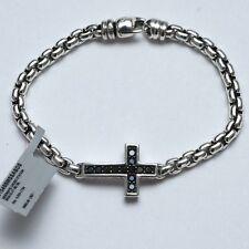 New DAVID YURMAN Sideways Cross Station Box Bracelet Black Diamonds Small NWT