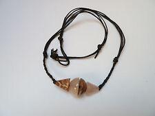 Flechtkordel Ziegenleder Halskette mit Rosenquarz - Leopardenfell Jaspis