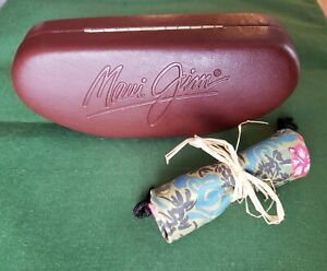 Maui Jim Sunglasses Case Brown Leather Clamshell Hardcase w/Softcloth Pouch