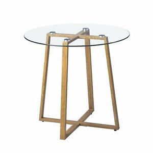 Rund Glastisch Tischplatte Skandinavisch Esstisch Küchentisch mit Metallbeine