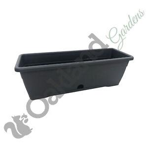 10 x 50cm Trough Planter Window Box Versilia Pot Dark Grey Drip Tray Anthracite