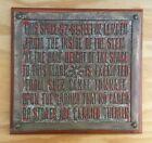 Rare Brass Suez Canal Cargo Displacement Plaque~ Ship's Plate