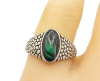 925 Sterling Silver - Vintage Green Topaz Cobble Stone Band Ring Sz 8.5- R17129