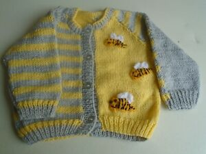 """New Hand Knitted Bumble Bee Cardigan 22"""" chest (aprox 2 yrs)"""