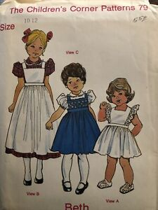 The Children's Corner Pattern 79 Beth. 1980s Girl's dress/pinafore Uncut. Sz 1-2
