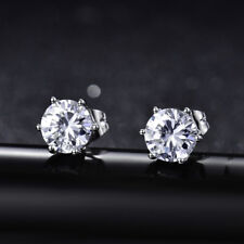 HUCHE White Gold Filled Silver Earrings Crystal Round Ear Studs Diamond Jewelry