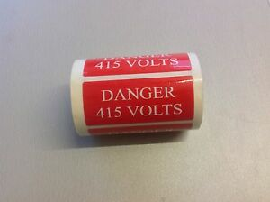10 x 'Danger 415 Volts' Red Electrical Safety Labels - free psot!