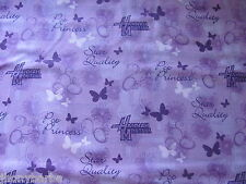 HANNAH MONTANA BUTTERFLY TV POP PRINCESS on COTTON FABRIC Priced By The Yard **