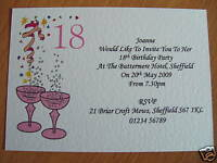 25 BIRTHDAY INVITATIONS PERSONALISED 18TH 21ST 30 40 50 60 70 80 PINK BLUE LILAC