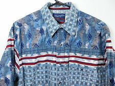 Vtg Wrangler Western Shirt Pearl Snap Blue Red White Rodeo Rockabilly Size Large