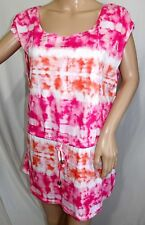 Faded Glory Women Size L 12/14 Tie Dye Pink Fuchsia White Knit Top Blouse Shirt