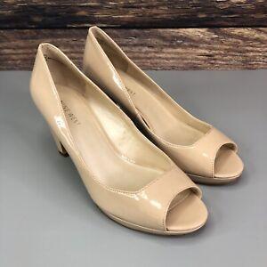 Nine West Womens Beige Slip On Court Heels Shoes UK 5 US 7