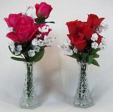 """Anchor Hocking Wexford Floral Single Flower 6"""" Bud Vases Set of 2"""
