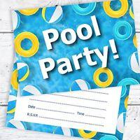 Olivia Samuel Swimming Pool Birthday Party Invitations - Kids Pool Party Invites