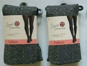 Secret Treasures Heather Gray Dot Fashion Tights Size L (LOT OF 2)