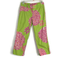 Lilly Pulitzer Womens Pants Size 0 Green Pink Crop Casual Capri Stretch Pockets