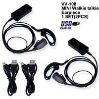 Twin Mini Radio UHF Invisible Walkie Talkies With USB Chargers & Earpieces Black