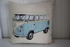 Kissenhülle mit Reißverschluß ca. 47 x 47 cm Bus, Bulli blau auf beige
