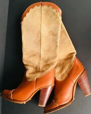 Women's Zodiac Cowboy Boots Tan Two Tone Suede Size 7 1/2 Pre-Owned