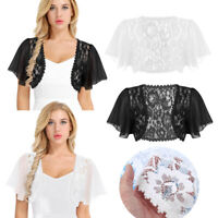 Womens Short Sleeve Shrug Bolero Lace Crop Top Cardigan Wedding Bridal Coat Tops