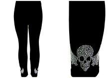 Regular Size Leggings Embellished Crystal & Silver Rhinestone Biker Skull Wings