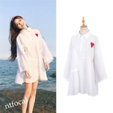 Red Heart Embrodered White Shirt Dress Loose Casual Harajuku Women  Girl Dress