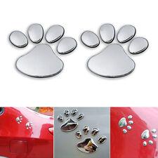 2PCS Car Window Bumper Body Decal Sticker Silver 3D Bear Cat Dog Paw Foot Prints