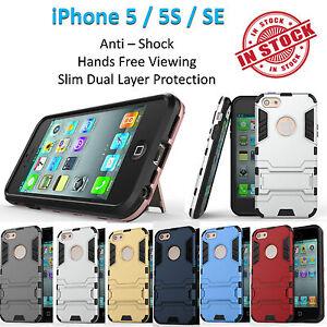 iPhone 5 5S SE Iron Armor Phone Case Cover Kickstand Shockproof Tradesman Tough