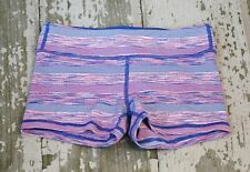 IVIVVA by Lululemon Girls RHYTHMIC SHORTS Pink Blue Cyber Stripe Gym Fit Size 12