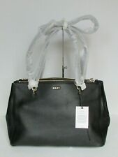 NEW DKNY Black Leather Satchel Tote Shoulder Bag $298.00