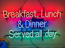 "32""x24""Breakfast Lunch Dinner Served All Day Neon Sign Light Restarunt Hanging"