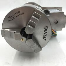 CNC Router Rotary Table Axis 4th Axis 3 Jaw Chuck 100mm K11-100 Hollow Shaft
