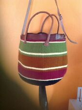 "Africa weaved wollen, natural sisal xlarge 20"" shoppers Toe bag Brown Basket"